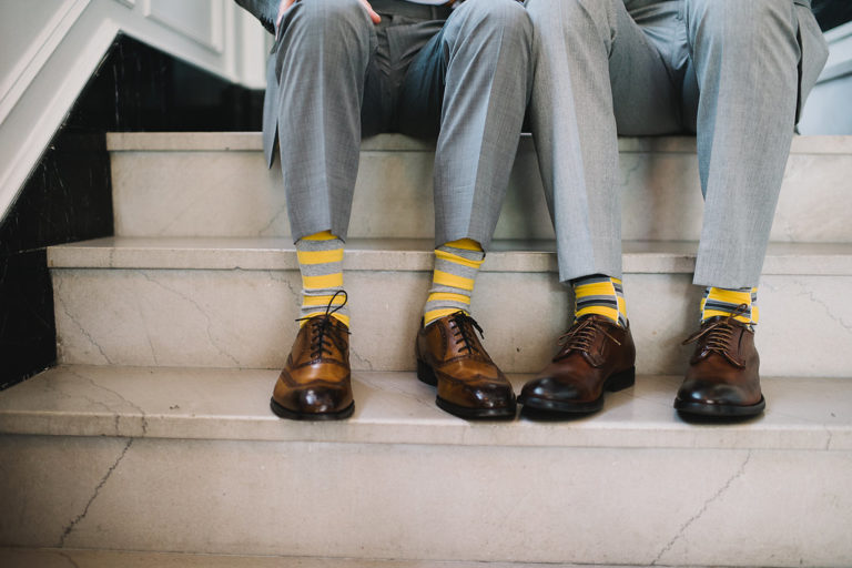 yellow and gray striped socks