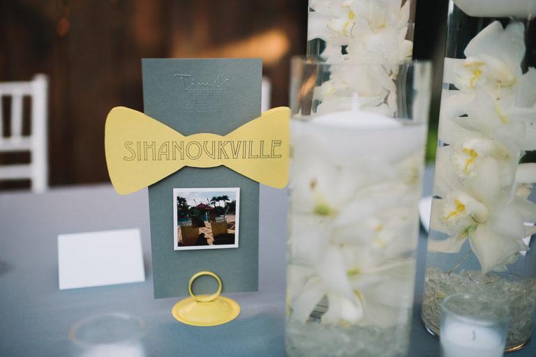 menus with yellow bow ties