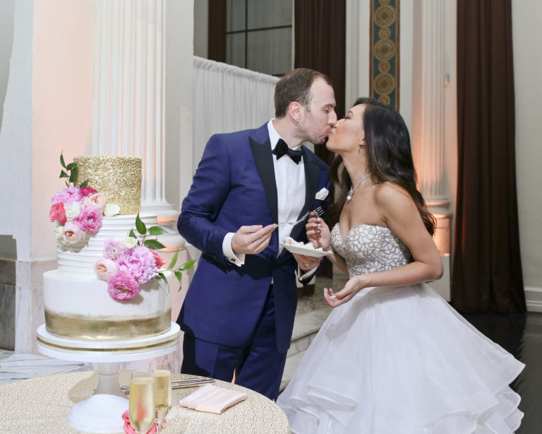 kiss after cutting cake