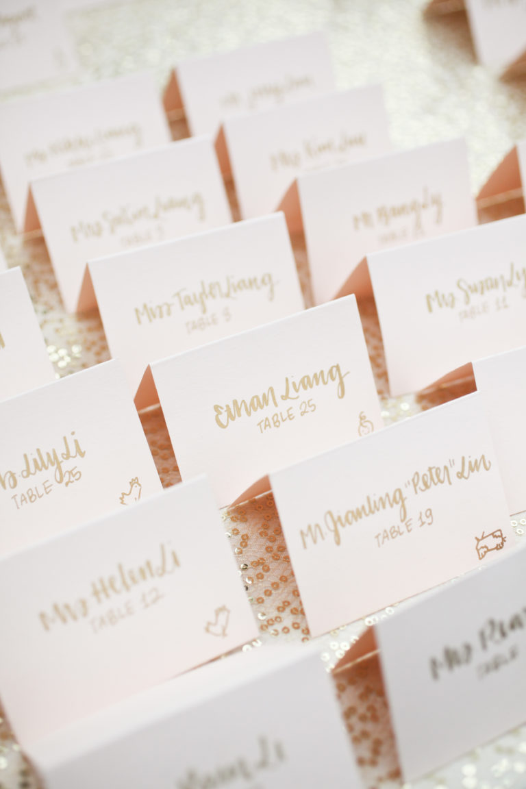 placecards with calligraphy