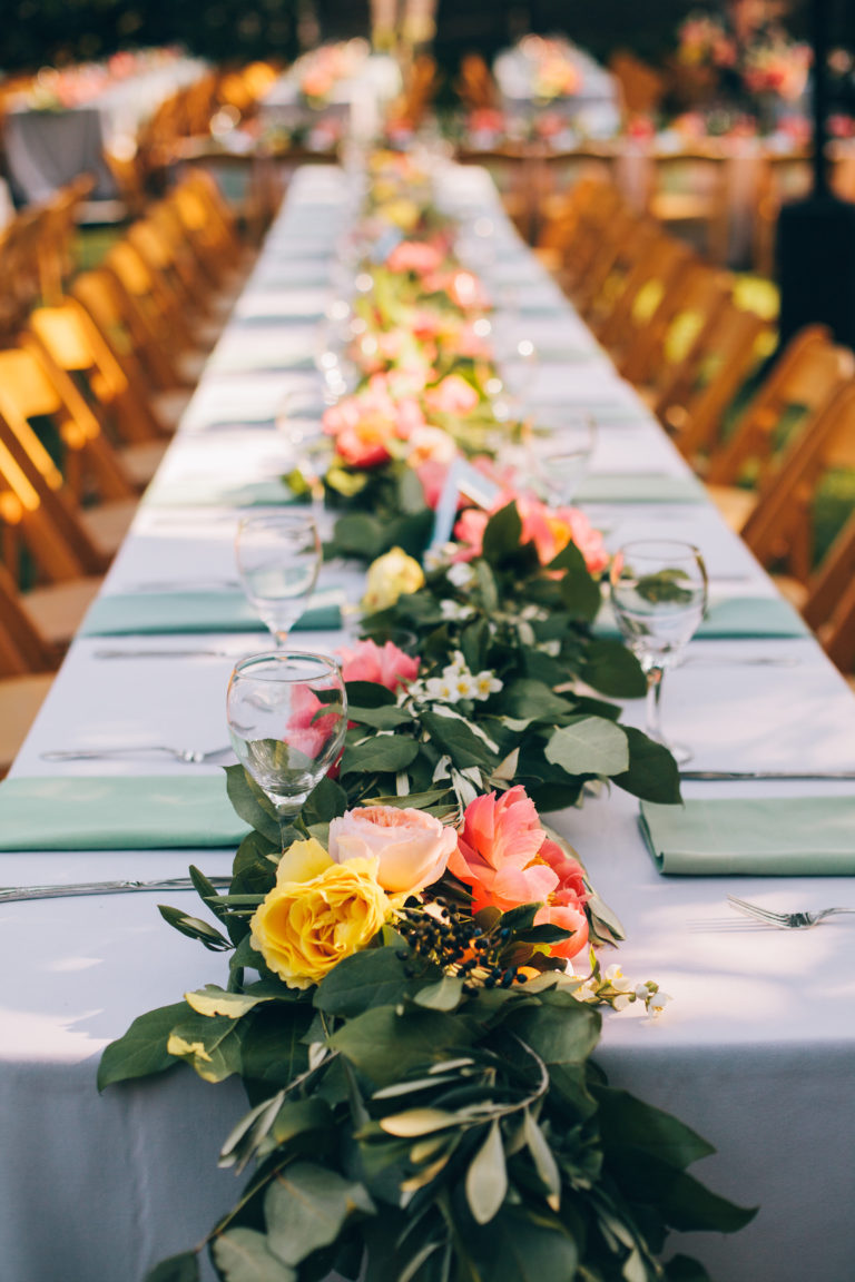 floral garland on table