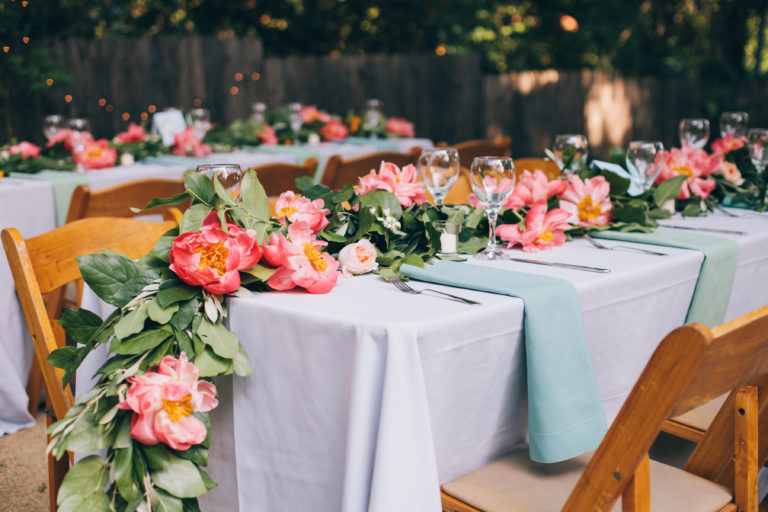 floral garland table runner