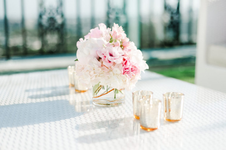 florals and votive holders