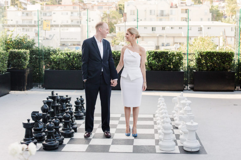 couple on giant chessboard