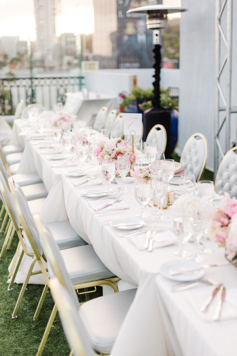 long table with pink flowers