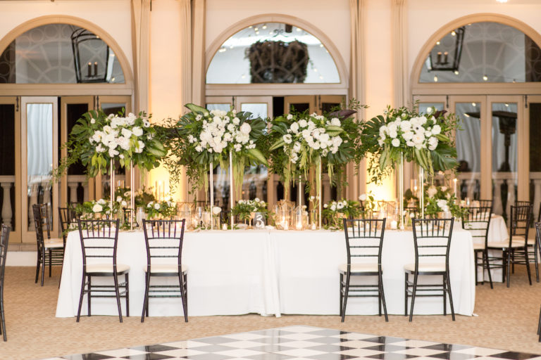 table with tall arrangements