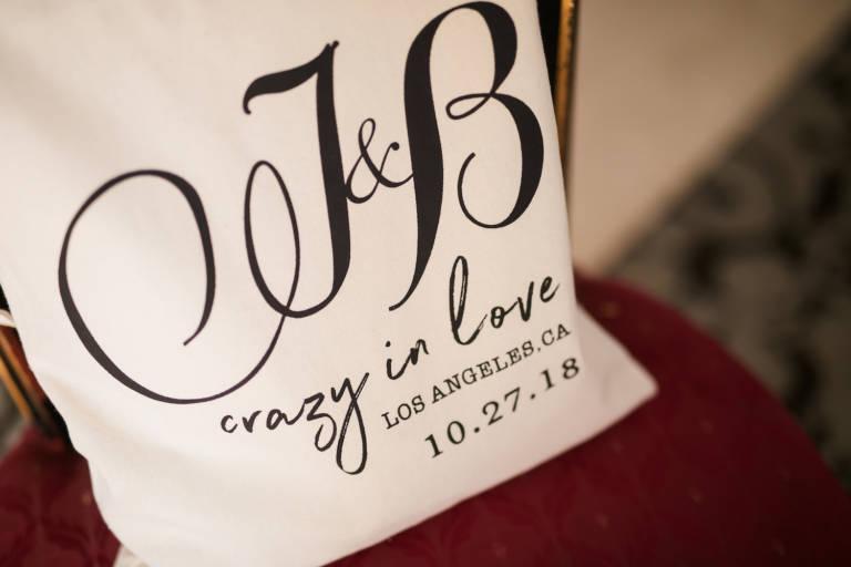 wedding favor calligraphy bag