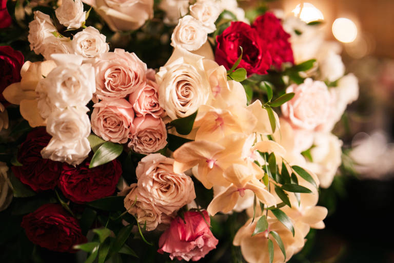 white and blush roses