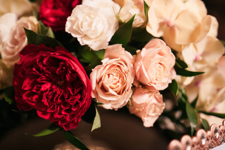 pink and red wedding florals