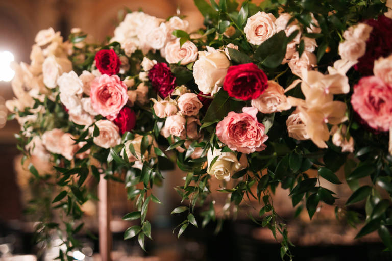 red pink and white wedding flowers