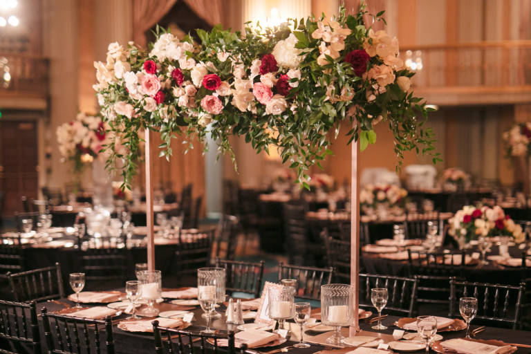 wedding table with tall arrangements