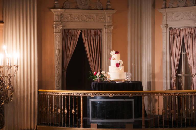 wedding cake on balcony