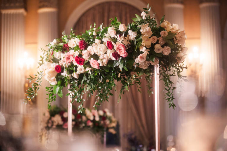 pink red and white wedding florals