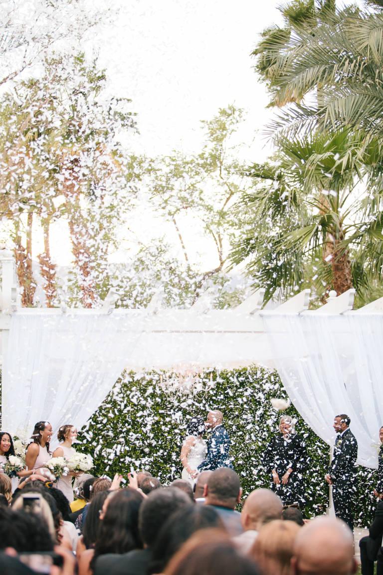 wedding ceremony with confetti