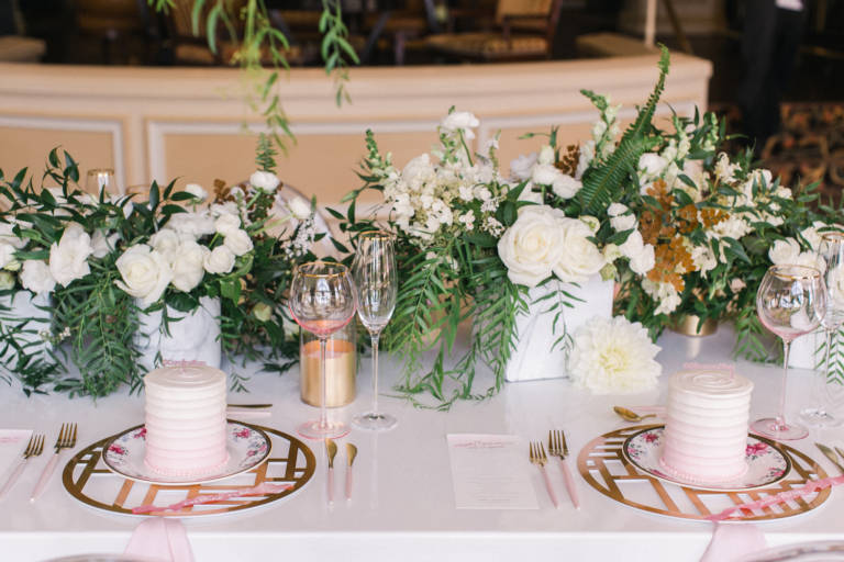 tea party table with florals