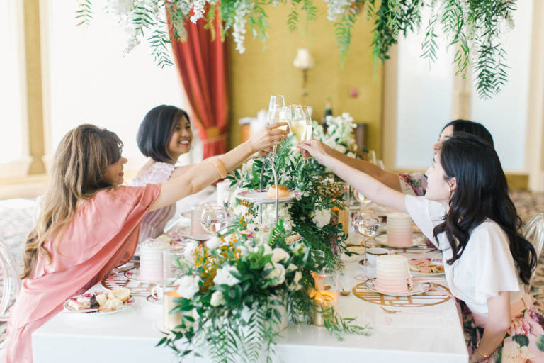 toasting at tea party