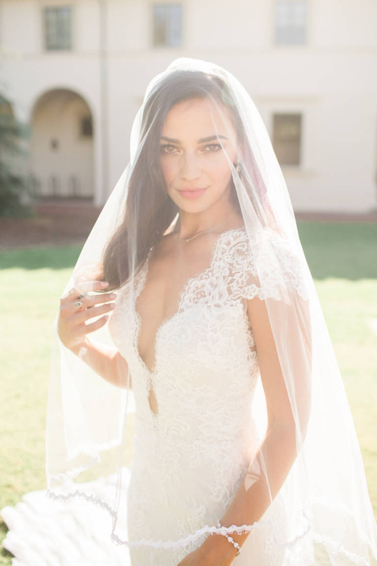 bride with veil on