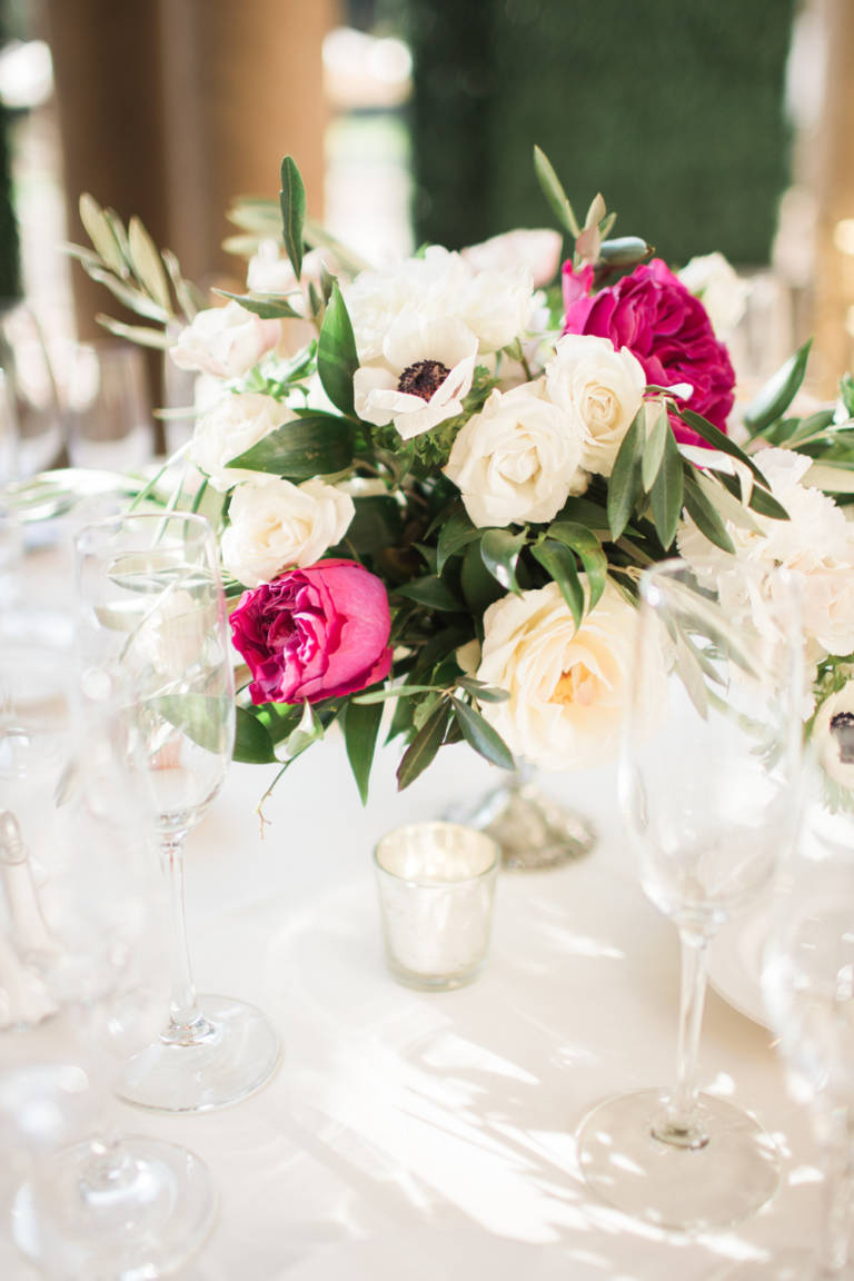 pink and white table arrangement