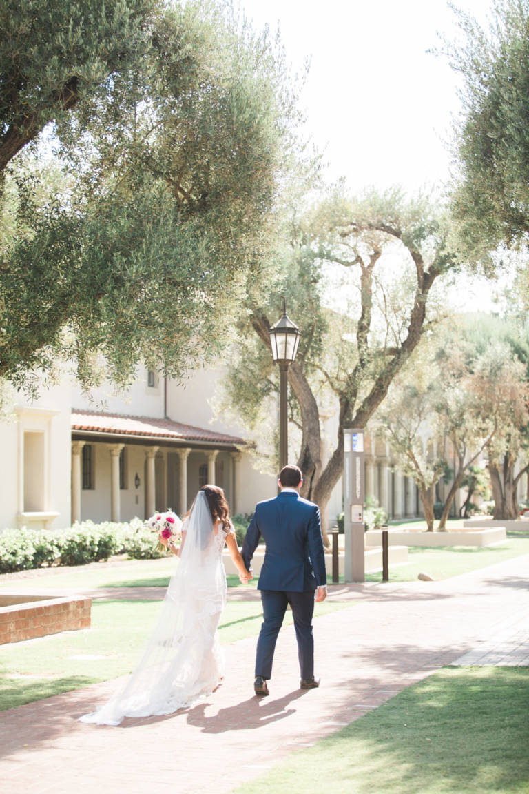 bride and groom walking at caltech