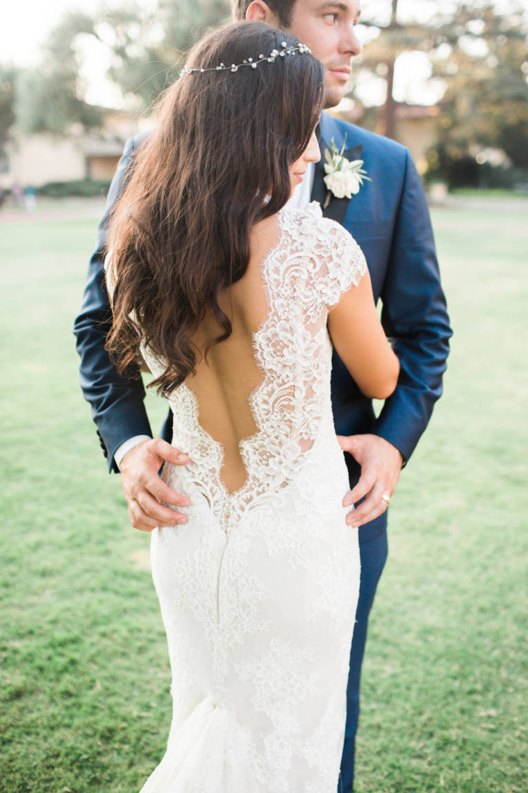 bride with lace low back gown