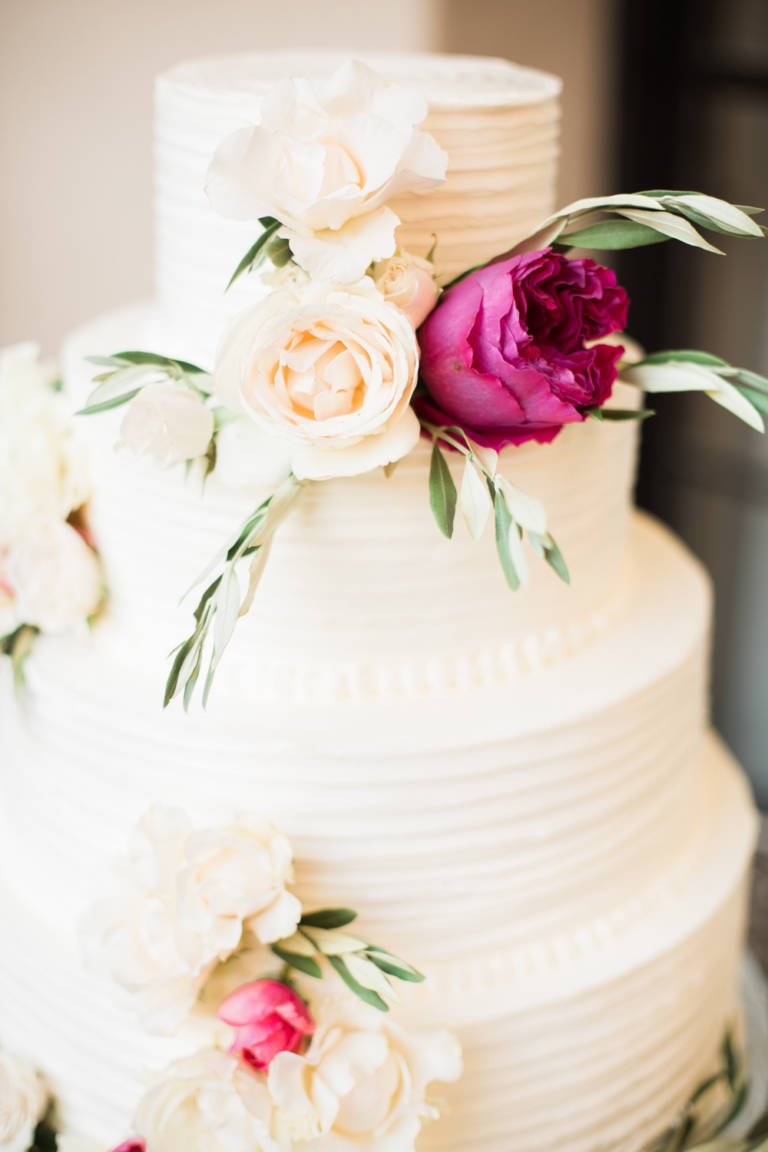 traditional wedding cake with florals