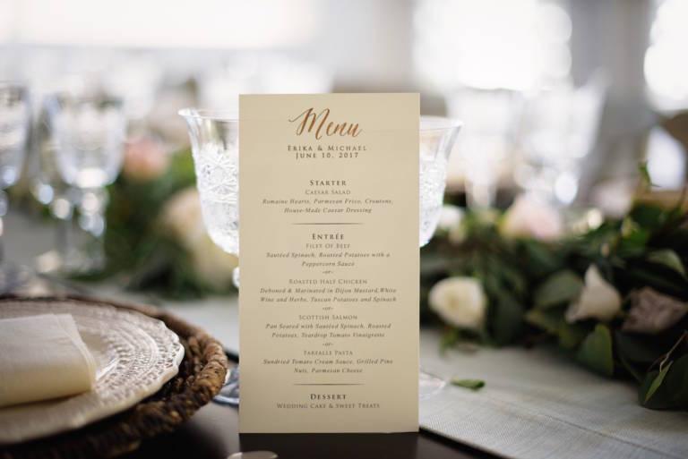 simple wedding menu