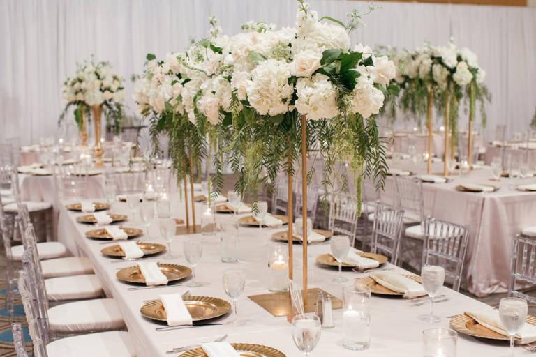 gold and neutrals wedding reception