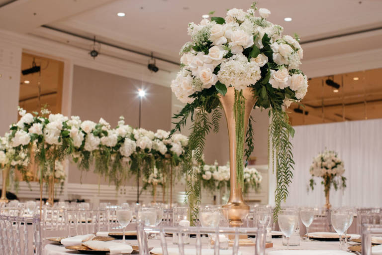 white florals and greenery