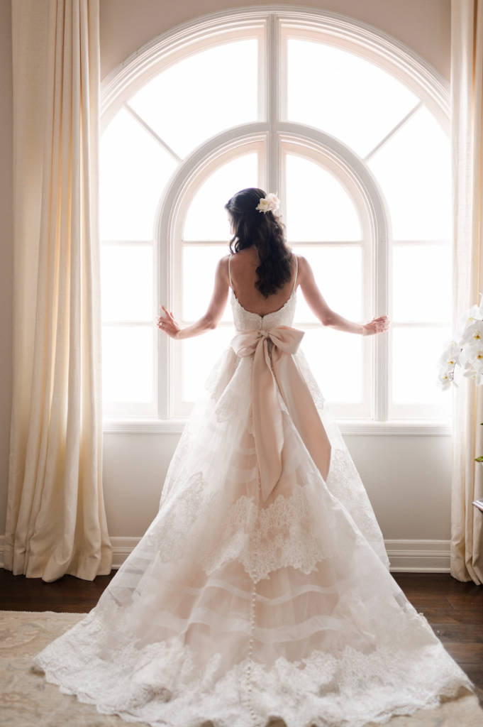 bride looking out window