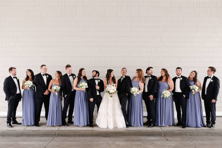 wedding party in blue