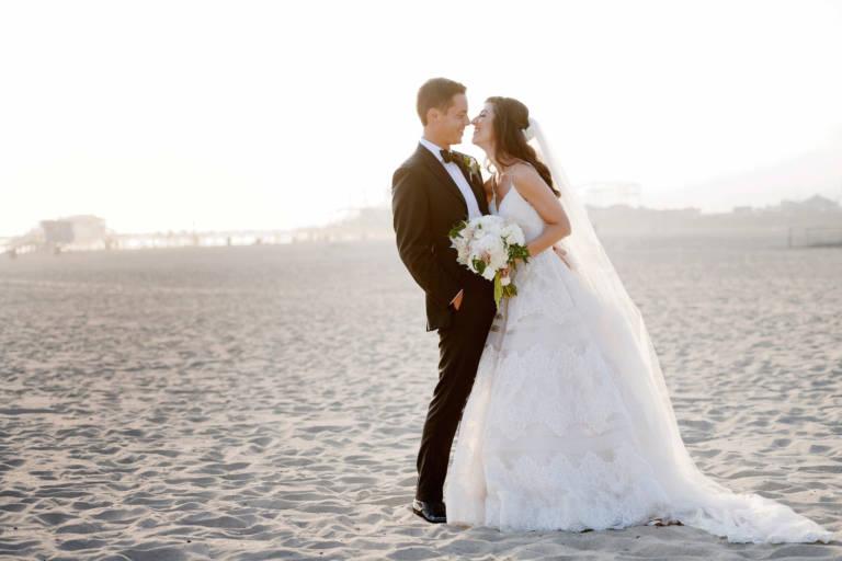 bride and groom on beach santa monica