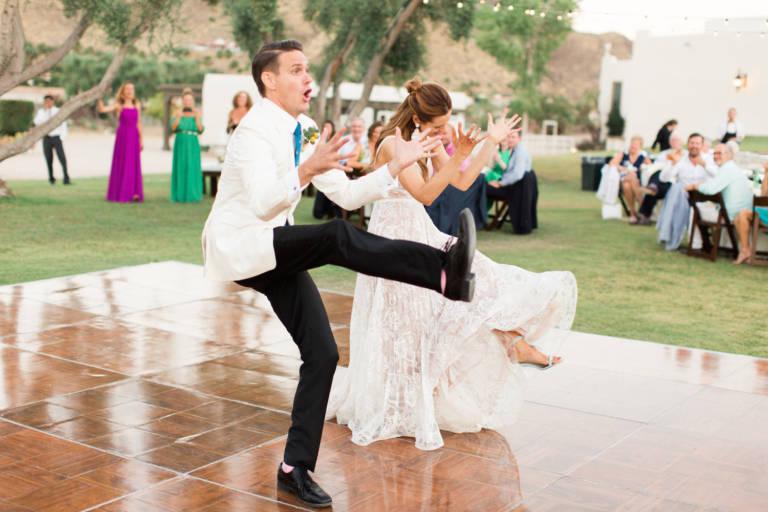 bride and groom fun dance