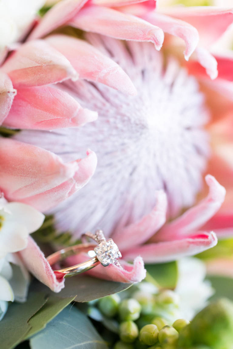 engagement ring with succulent