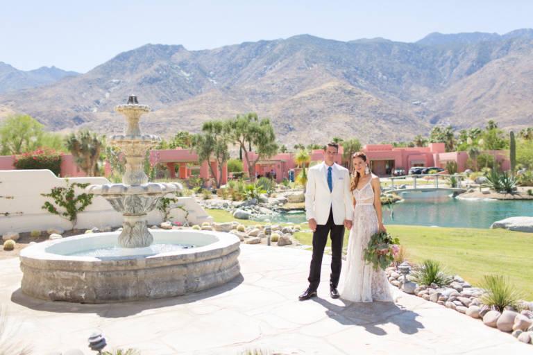 desert wedding couple