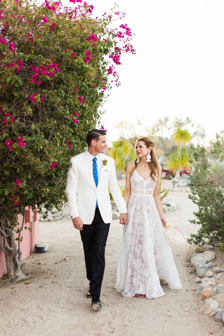 desert wedding bride and groom