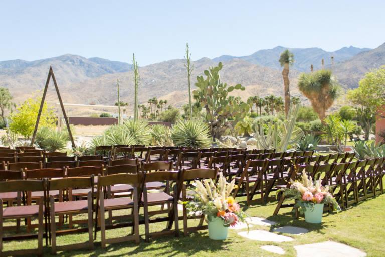 desert wedding ceremony setup