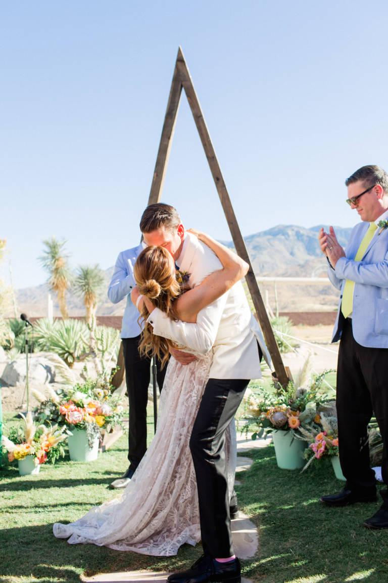 pond estate wedding first kiss