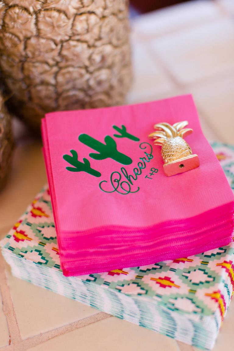 desert wedding theme cocktail napkin
