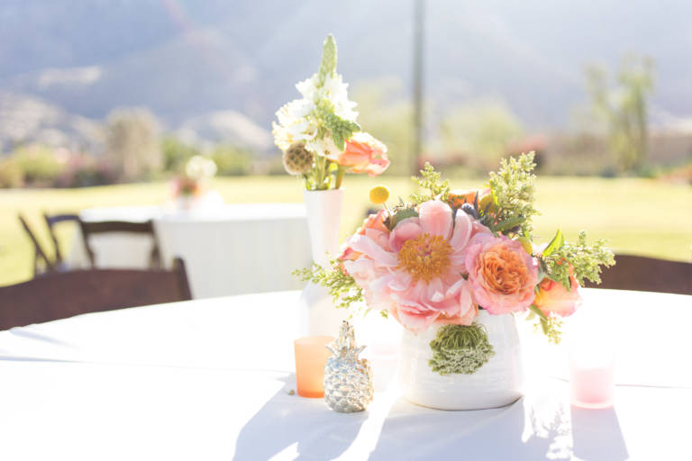 desert wedding pink flowers