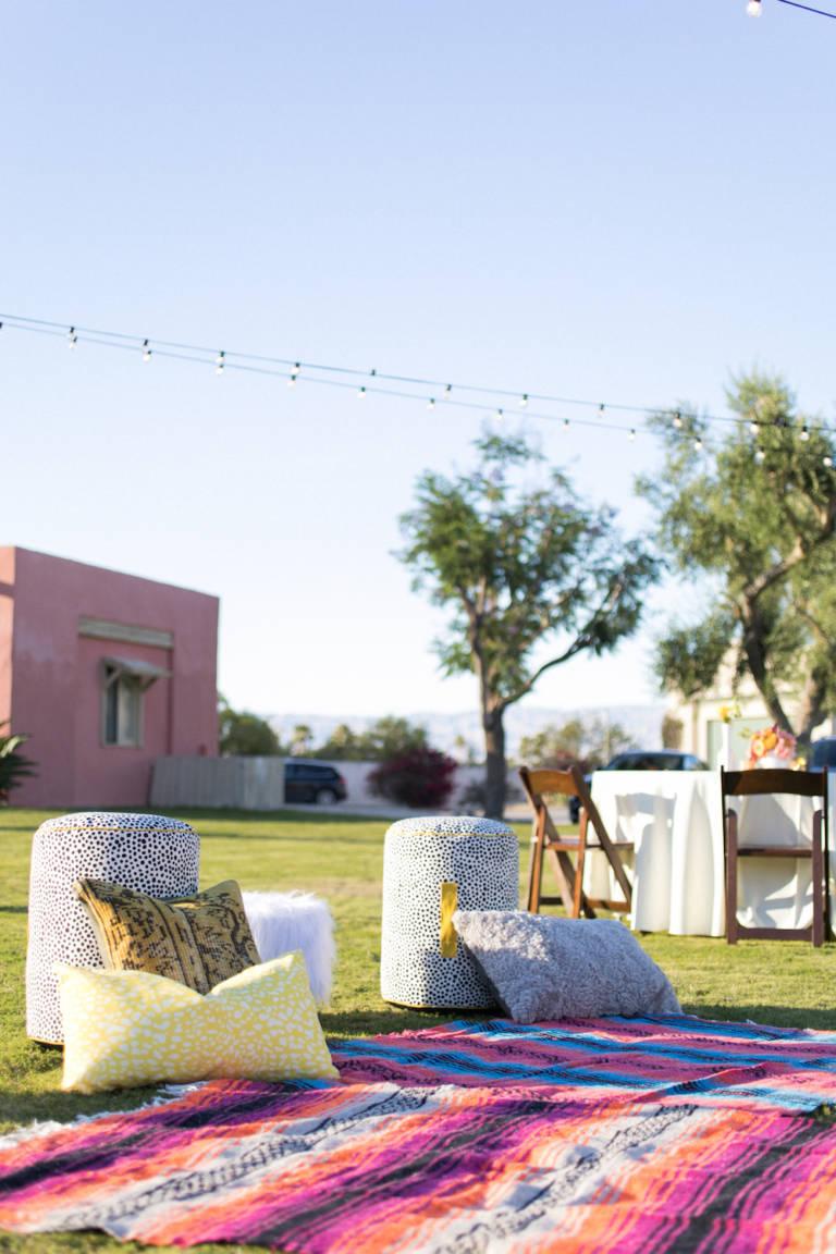 desert wedding seating vignette
