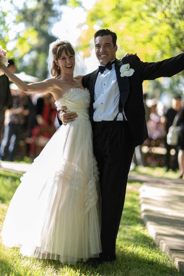 wedding couple celebrate