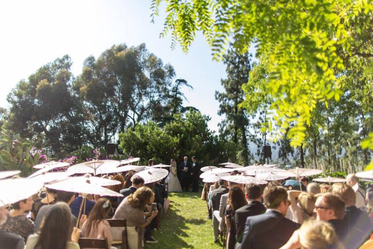 outdoor wedding with parasols