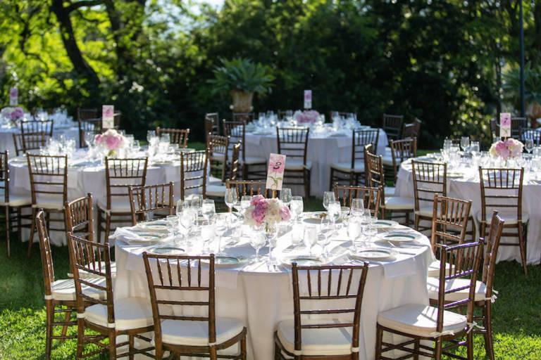 outdoor wedding pink flowers