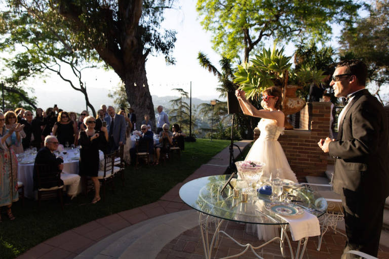 bride taking photos