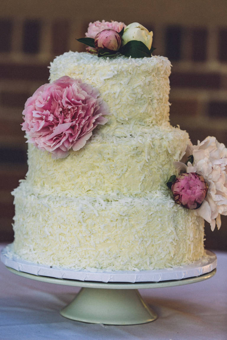 wedding cake with coconut flakes