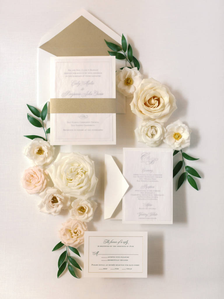 invitation suite with flowers