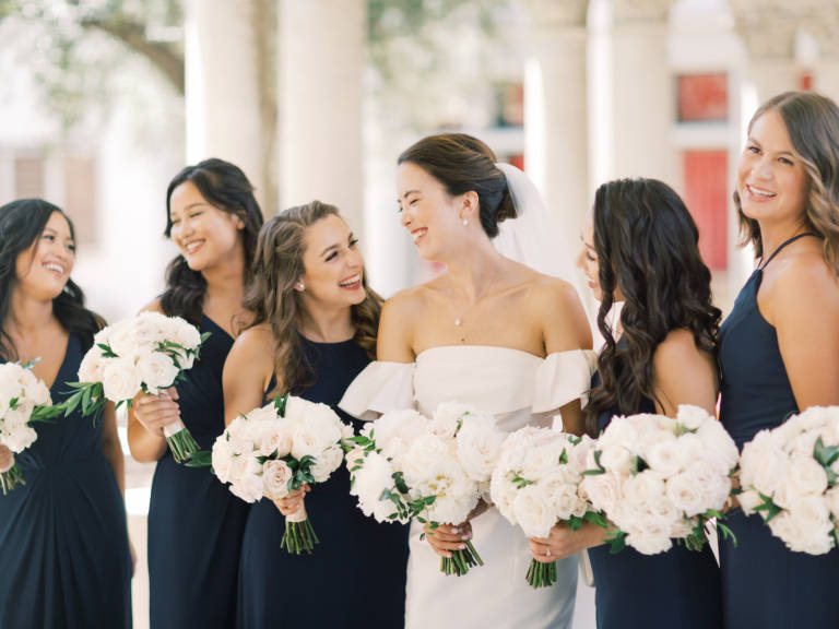 bride and friends laughing