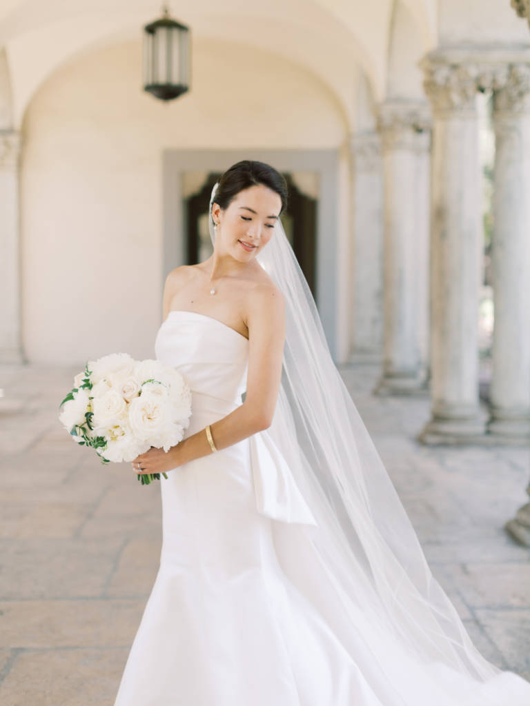 bride with strapless gown