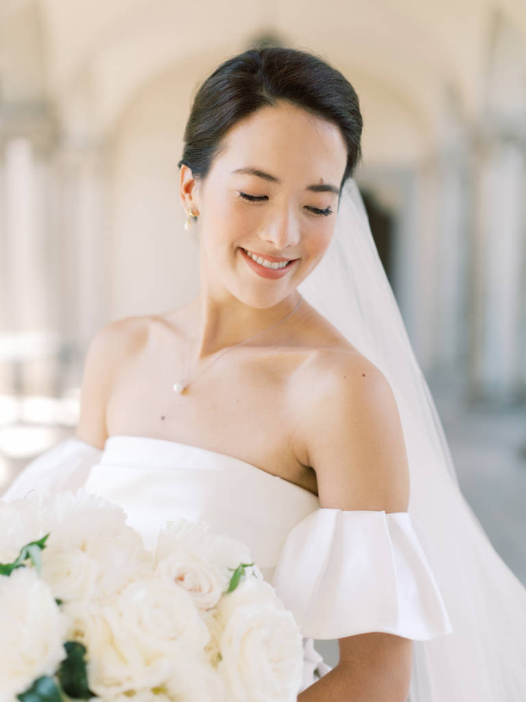 bride with off the shoulder gown