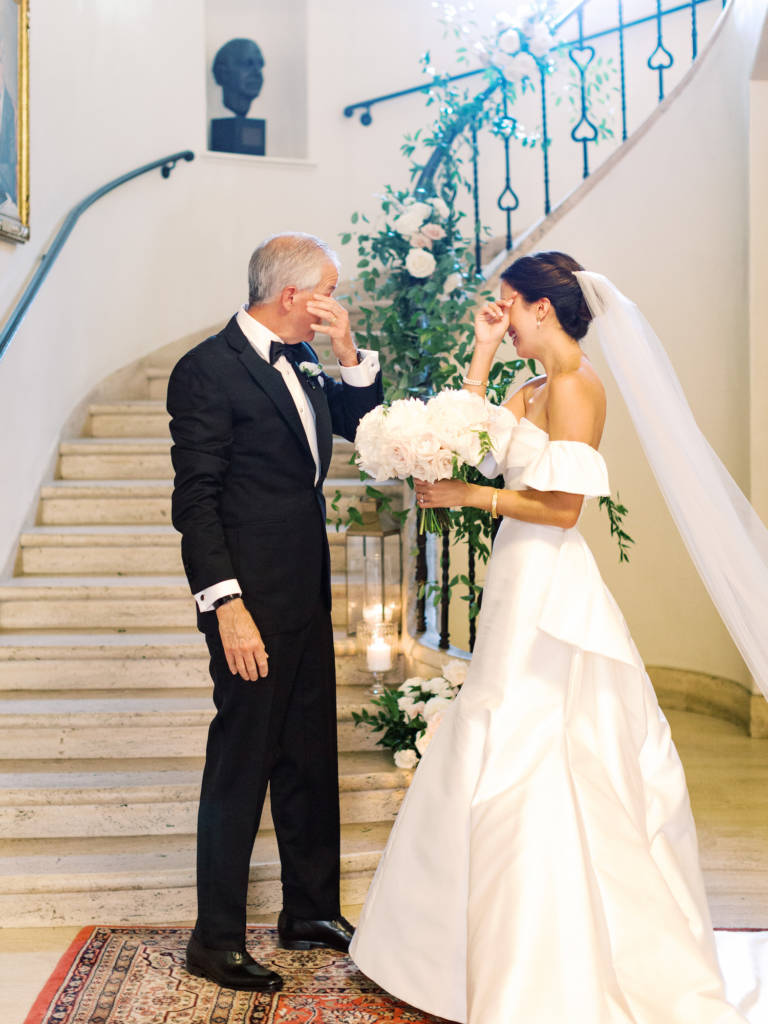 bride and father with emotion